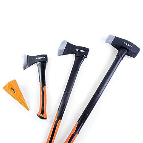 FUXTEC AXT Set, 4 teilig, Beil 900gr., Axt 1.600gr. Spaltaxt 3.900gr., 1,8kg Spaltkeil mit 10 Jahren Garantie - Spalthammer Axtset, Spaltbeil