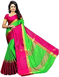 BuyOnn Women's Multi-coloured Saree New Collection Cotton Silk Sarees For Women Party Wear Sarees With Blouse...