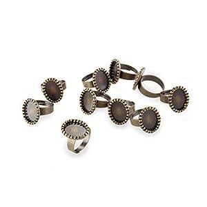 "FACILLA® 10 Vintage Retro Bronze Oval Metal Ring Flat Pad Base Blank 0.71x0.55"" HOT"