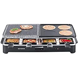 Severin RG 2341 - Raclette con piedra natural y 8 sartenes, 1500 W, superficie de 49 x 25 cm, 2 luces pilotos, color negro