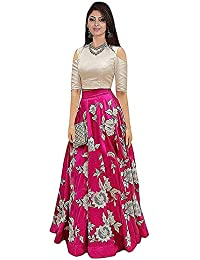 3981e08f63 The Kab's Woman's Party Wear Multi-Coloured Banglory Satin Semi-Stitched  lehenga choli for