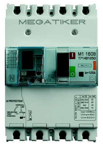 BTICINO T714B160D - M1 160B - MAGNETOT+DIFF 3P+N/2 160A 25KA