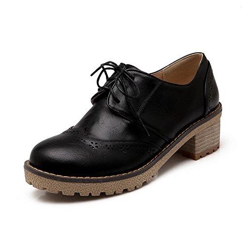 AllhqFashion Femme Rond à Talon Bas Matière Souple Couleur Unie Lacet Chaussures Légeres Noir