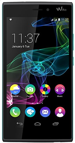 Wiko Ridge 4G Dual-Sim Smartphone (5 Zoll (12,7 cm) Touch-Display, 16 GB Speicher, Android 4.4.4) schwarz/türkis
