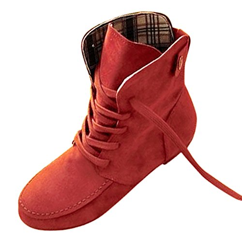 SODIAL(R) Automne Bottes Bottes de neige pour Femmes Martin bottes Daim Cuir Bottes taille 4,5 rouge clair