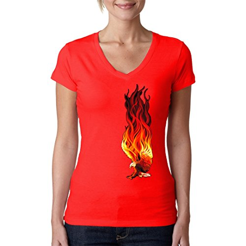 Fun Girlie V-Neck Shirt - Flaming Eagle by Im-Shirt Rot