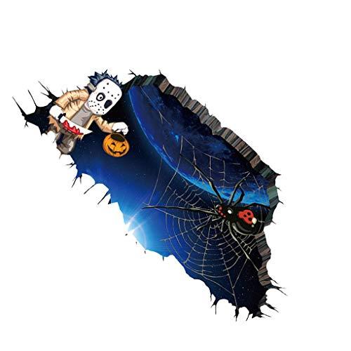 Meisijia Wasserdicht 3D-Spinnen-Netz-Halloween-Kunst-Aufkleber Tattoo-entfernbare Wand-Abziehbild-Haupt dekorative Tapete