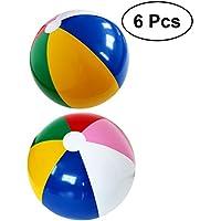 YeahiBaby 6pcs Pelota Hinchable de Fiesta de Color del Arco Iris Bola Inflable de Playa Y Piscina Juguete de Niños y Adultos