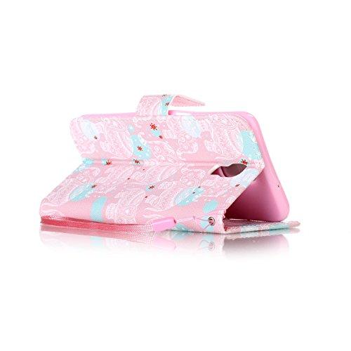 Feeltech LG X Screen Hülle,LG X Screen Magnet Leder Wallet Cover,Elegant Soft PU Kartenfach Extra Dünn Tasche Bunte Relife-Muster [Stand Funktion] Karte Halterung Klapp hülle Flip Book Design Case Fle Weißer Totem Elefant
