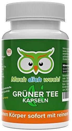 Grüner Tee Kapseln - 100 % natürliches Koffein - deutsche Laboranalytik - Qualität aus Deutschland! - kleine, vegane Kapseln mit je 333mg - 100% Zufriedenheitsgarantie - Mach dich wach!®