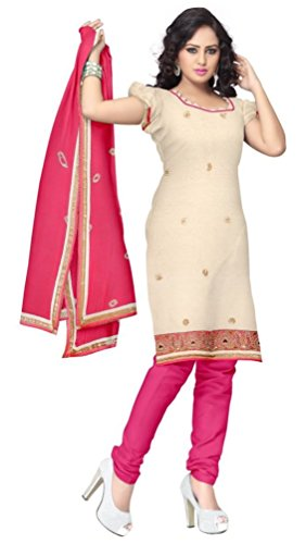 Lucky Sarees Women's Chanderi Cotton Unstitched Dress Material (158_Off-White)