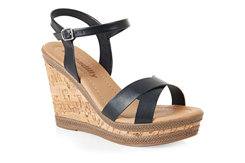 Piccadilly 805047 confortable Wedge Sandal Noir - noir