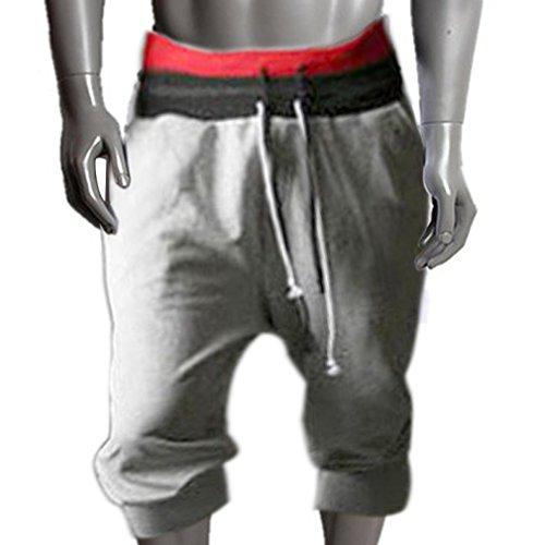 Sannysis Herren Sport Hosen Harem Tanz Shorts Ausgebeult Jogging Ausbildung Hose (Grau, xxl)