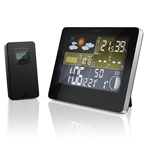 CSL - Funkuhr mit Temperaturanzeige | Farbdisplay | inkl. Funk Außensensor | Wetteranzeige | Mondphasen-Anzeige/Innen- und Außentemperatur UVM. | 5,75 Zoll LCD-Display