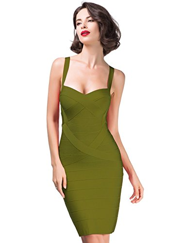Alice & Elmer Damen Rayon Bodycon Strap Sleeveless Bandage Evening Cocktailkleid Party Dress Abend Club Kleid Armygreen (31 Con Kostüm)