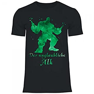 Royal Shirt a1 Herren T-Shirt der Unglaubliche Alk | Lustiges, Cooles Party Geschenk Funshirt, Größe:L, Farbe:Black
