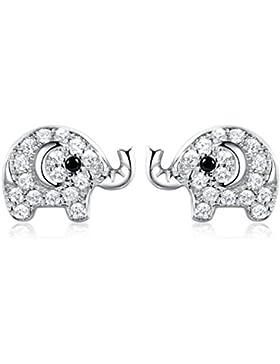 SELOVO Elefant Ohrstecker Silber 925 Zirkonia für Mädchen Damen