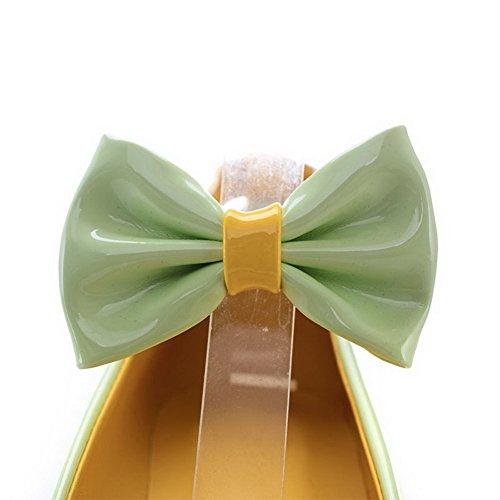 AgooLar Femme Couleur Unie Verni à Talon Correct Boucle Rond Chaussures Légeres Vert