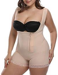 62a6b101f7 Topmelon Women s Plus Size Lace Open Bust Shapewear Bodysuit Seamless Firm  Control Butt Lift Full Body