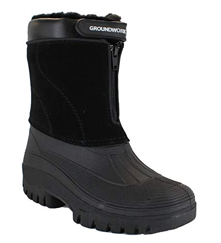 GroundWork LS88 Mens Mucker Stable Yard Waterproof Winter Snow Zip Boots Wellies