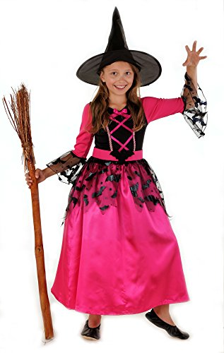 Magicoo Fledermaus Hexenkostüm Kinder Mädchen pink-schwarz & Hexenhut - Schickes Halloween Kostüm Hexe Kind (134/140)