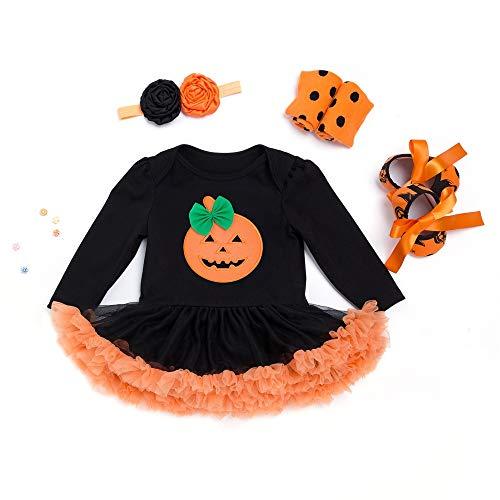 Ymym costume da halloween tuta bambina - 4pcs abiti, copricapi, calze, scarpe (colore : nero, dimensione : 73(6-12 months))