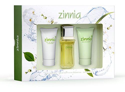 Zinnia Zin Est Nav Coffret cadeau pour femme Eau de toilette en flacon Vaporisateur 50 ml + Lait de beauté hydratant 50 ml + Bain moussant 50 ml