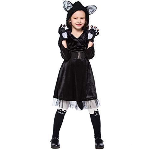 Schwarzen Kleid Kostüm Niedlichen - CJJC Kreative Mädchen Schwarze Katze Kostüm, niedlichen Tier langes Kleid mit Gürtel ideal für die schulische Leistung Cosplay Festival Party verwenden M