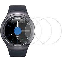 [3 Pièces] Fintie Protection écran pour Samsung Gear 2 - [2.5D, 9H Dureté, Résistant Aux Rayures] Vitre Verre Trempé Screen Protector pour Samsung Gear S2 Sport / Classic Smartwatch