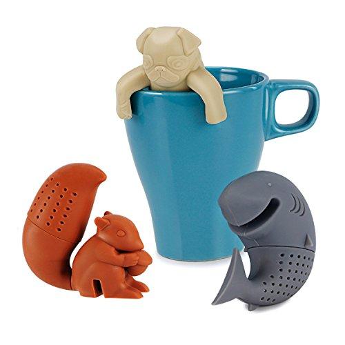 sweese Tè filtro/Colino da tè in silicone, Loser Tea Leaf setaccio erbe Spice Filtro diffusore, per Shell di tè e tazze, Scoiattolo/squalo/mops Tè Infusore Palla, 3pezzi set