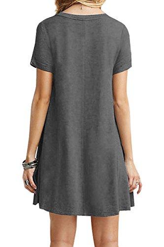 YMING Damen Casual Langes Shirt Lose Tunika Kurzarm TShirt Kleid 24 Farbe,XSXXXXL3250  Grau a3716828f9