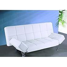 Sofá cama clic clac tapizado en polipiel color blanco.