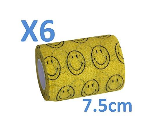 Keine Mehr Arme Haftung. - Smiley gelb kohäsive Bandage gedehnt 6 Rollen x 7,5 cm x 4,5 m selbstklebend Flexible, professionelle Qualität, erste Hilfe Sport Wrap Verbände, 6 Stück