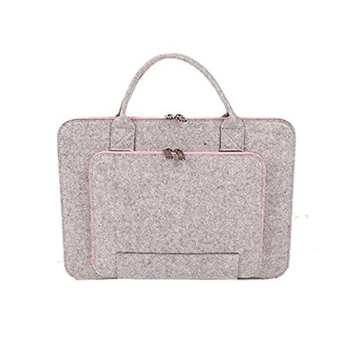 15,6 Zoll Filz Sleeve Hülle Laptop Tasche für 15 - 15,6 Zoll - Grau / Rosa