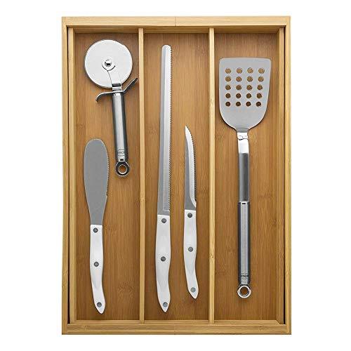 Besteckkasten | Schubladeneinsatz | Schubladen Organizer | aus Bambus | mit Ausziehbar | Schubladeneinsatz mit 3-5 Fächern für Küchenschränke | 30 X 36 x 5.5 cm