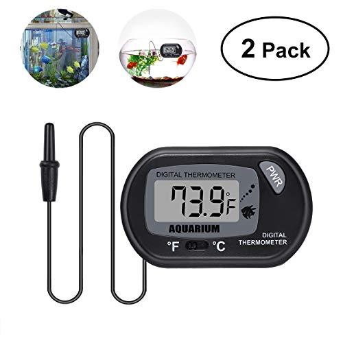 UEETEK 2 Stück Aquarium Thermometer, Digital LCD Thermometer mit Saugnapf Zum Messen Teich Aquarium/Reptil Schildkröten Lebensräume