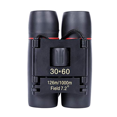 HCFKJ Tragbares Mini-Fernglas 30 x 60 Zoom Faltteleskop im Freien mit Tasche (BK)