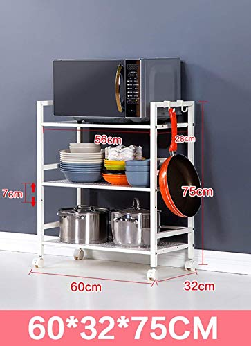 Estante de cocina Estante de almacenamiento de cocina / horno de microondas de acero inoxidable / horno / multiusos Estantería de piso / estante de almacenamiento bastidores de almacenamiento de cocin