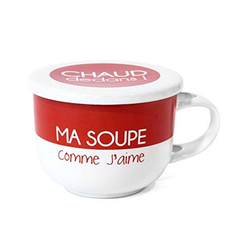 Saveur et Degustation KA1407 Mug à Soupe + Couvercle Céramique Taupe/Rouge/Orange/Vert 16 x 13,2 x 10 cm 625 ml