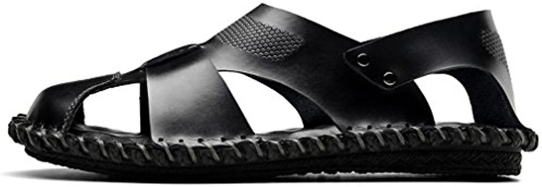Scennek    Herren Durchgängies Plateau Sandalen mit Keilabsatz  Schwarz   Leder Schwarz   Größe: 38
