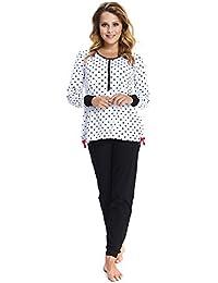 dn-nightwear Damen Schlafanzug/Pyjama Isabella für Schwangerschaft und Stillzeit/Langarm