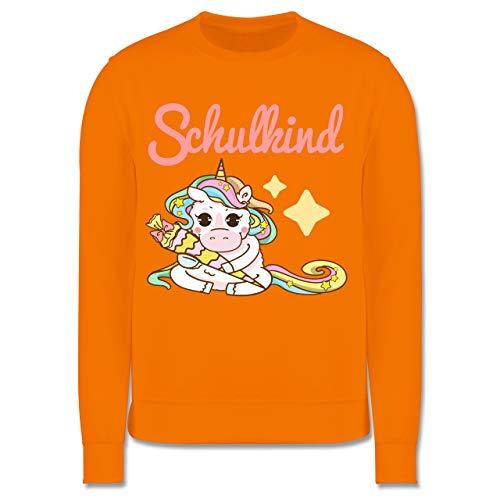 Shirtracer Einschulung und Schulanfang - Schulkind Einhorn mit Schultüte - 7-8 Jahre (128) - Orange - JH030K - Kinder Pullover - Wrap-kinder Pullover