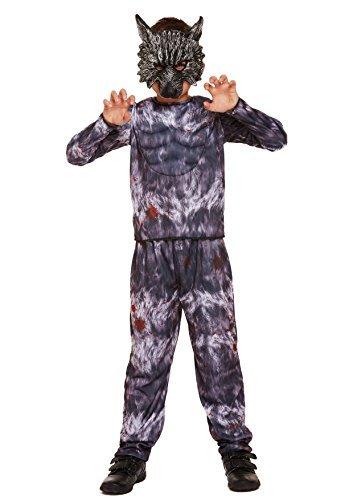 erwolf Biest grau Jungen Kostüm Groß 10-12 Jahre (Werwolf-jungen Kostüm)