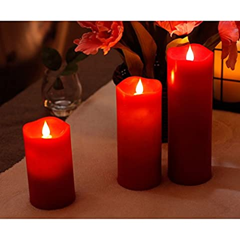 Set di candele a Led senza fiamma in movimento a 180°, l'effetto fiamma 3D-Candela a (Batteria Operated 3d Glasses)