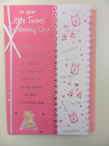 BCBGMAXAZRIA Christening Card for Twins (Pink)