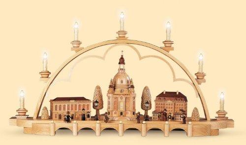 Candle Arch - Old Dresden - 80 cm / 31 pulgadas - Auténtico Erzgebirge Vela Arcos alemán - Müller Kleinkunst