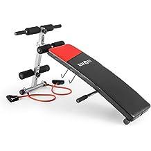 Klarfit Hiup Banco inclinado entrenador abdominal (bandas de expansión integradas, grueso acolchado, plegable, entrenamiento en casa) - negro/rojo