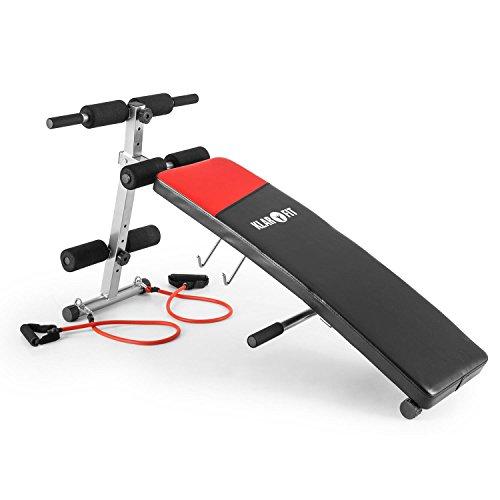 Klarfit Hiup Schrägbank • Sit Up Bank • Fitnessbank • Bauchmuskeltrainer • gekrümmt • integrierte Expanderbänder • Belastung: max. 120 kg • 4-stufig höhenverstellbar • faltbar • schwarz-rot