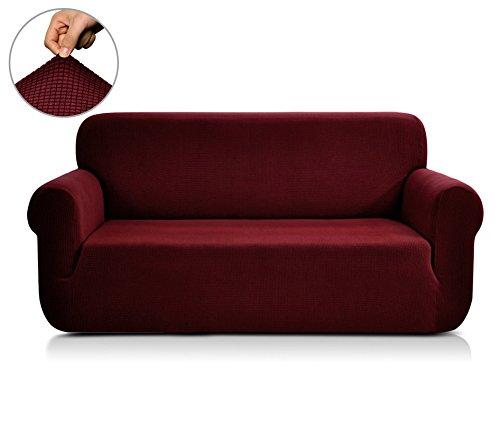 CHUN YI 1-Stück Jacquard Sofaüberwurf, Sofaüberzug, Sofahusse, Sofabezug für Sofa, Couch, Sessel, mehrere Farben (3 Sitzer, Bordeauxrot) (Beige Stoff Sofa)