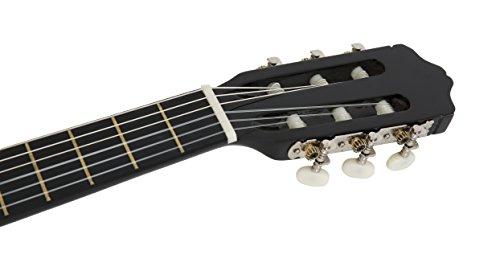 NAVARRA Konzertgitarre 4/4 schwarz mit cremefarbigen Randeinlagen und leicht gepolsterter Tasche mit Rucksackriemen und Notenfach, 2 Plektren - 6